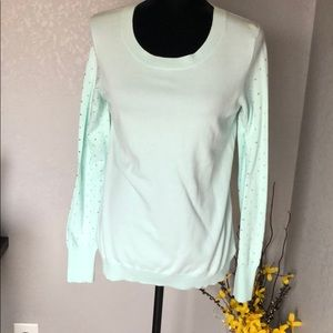 Express Teal beaded Sleeve sweater